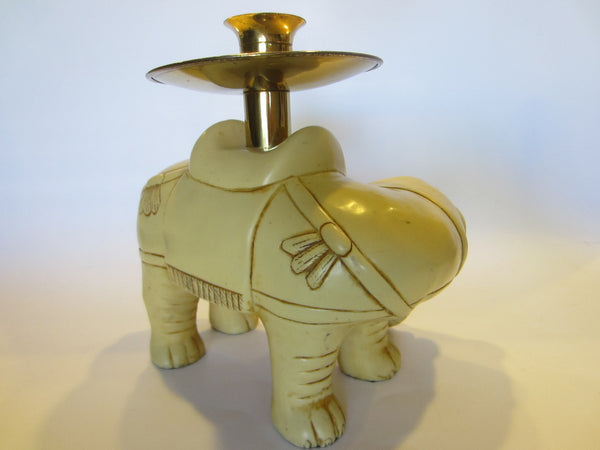 Art Deco Elephants Bearing Brass Candle Holders - Designer Unique Finds   - 6