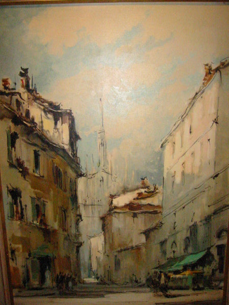 G Frati Italy City View Oil on Canvas Artist Proof - Designer Unique Finds   - 1