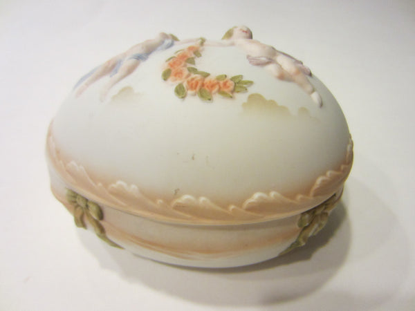 Royal Worcester Porcelain Bisque Majolica Covered Egg Box Floral Angels - Designer Unique Finds
