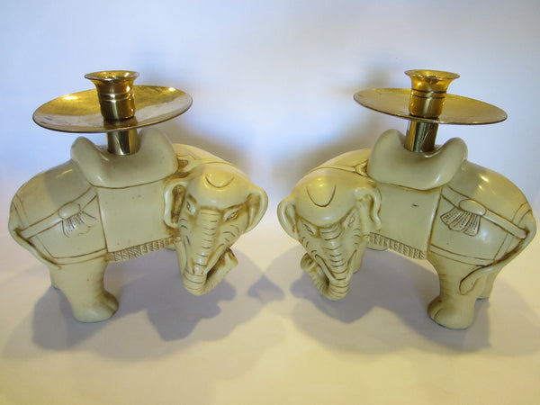 Art Deco Elephants Bearing Brass Candle Holders - Designer Unique Finds   - 1