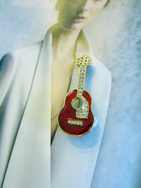 Red Guitar Brooch Golden Brass Enamel Rhinestone - Designer Unique Finds   - 2