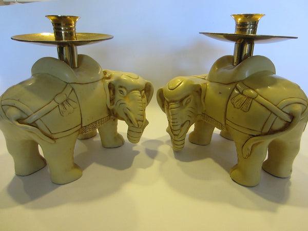 Art Deco Elephants Bearing Brass Candle Holders - Designer Unique Finds   - 3