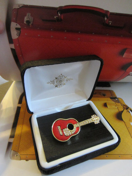 Red Guitar Brooch Golden Brass Enamel Rhinestone - Designer Unique Finds   - 4