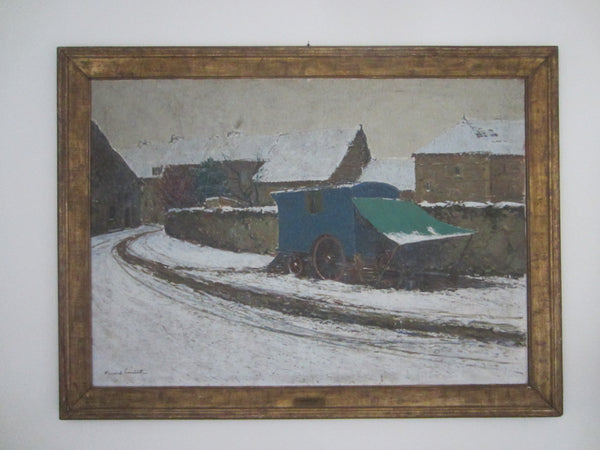 Fernand Alexis Lambert Winter French Impressionist Oil On Canvas Medaille - Designer Unique Finds