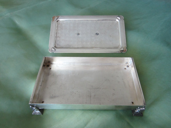 Fashioned By Ronson Silver Plated Rectangular Footed Box With Hallmarks - Designer Unique Finds   - 4
