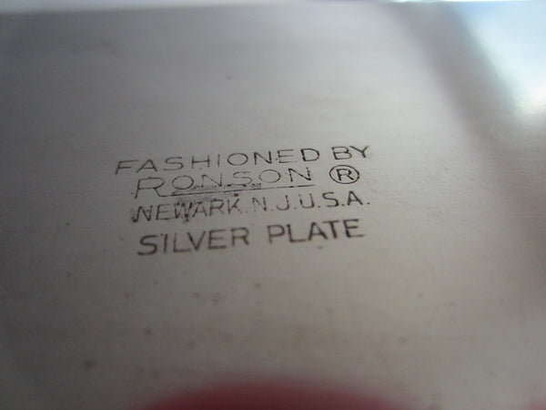 Fashioned By Ronson Silver Plated Rectangular Footed Box With Hallmarks - Designer Unique Finds   - 5