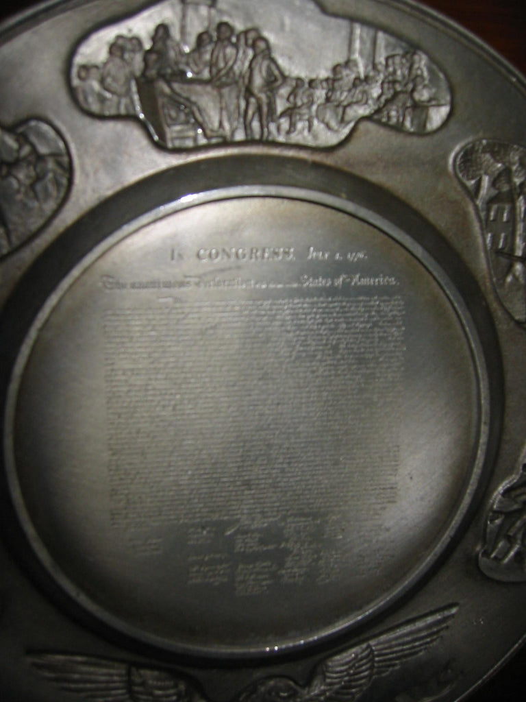 Hudson Pewter Plate American Commemorative Independence Day