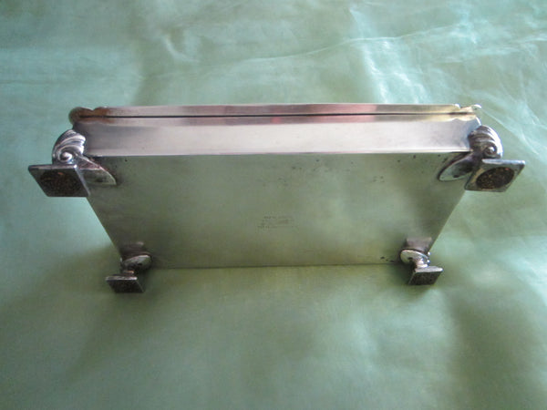 Fashioned By Ronson Silver Plated Rectangular Footed Box With Hallmarks - Designer Unique Finds   - 6