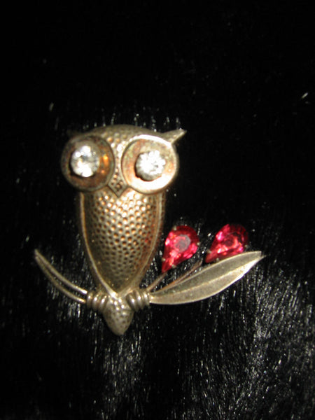 Joseff of Hollywood Style Sterling Owl Brooch Hand Soldered Rhinestones Ruby Glass - Designer Unique Finds   - 2