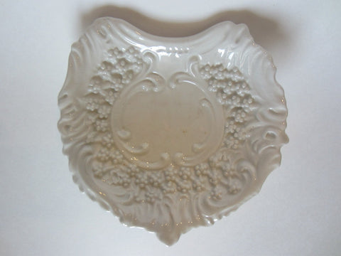 White Ceramic Vanity Tray Made In Italy Decorated Majolica Flowers - Designer Unique Finds