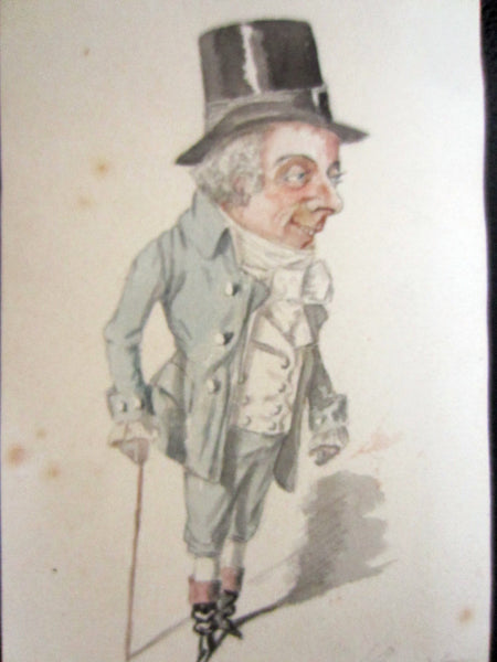 Man With Walking Cane Political Satire French Caricature Signed Portrait - Designer Unique Finds