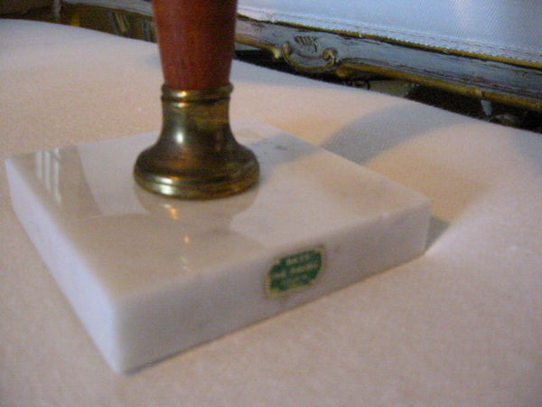 Italy Kitchen Scale Brass Trays Mahogany Marble Stand