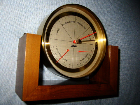 Jason Swivel Barometer Thermometer Mahogany Stand Made In Germany - Designer Unique Finds   - 1