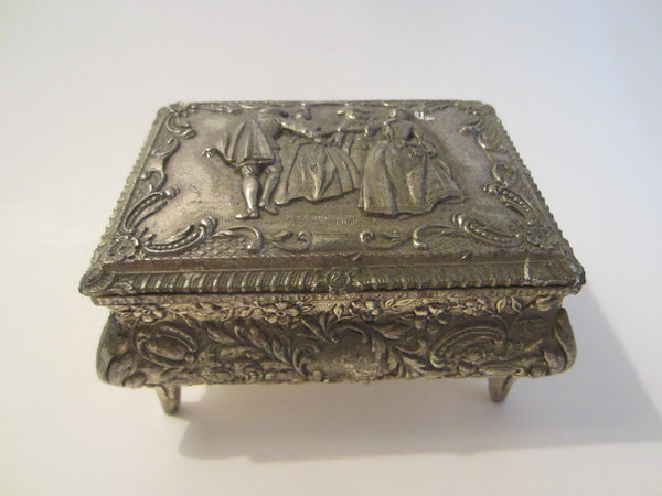 Victorian Style Silver Jewelry Box Figurative Floral Theme Japan - Designer Unique Finds