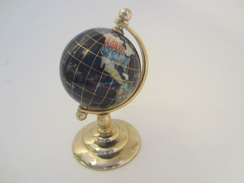 A Desktop World Globe Cobalt Lapis Rainbow Gems Mother of Pearl Brass Stand