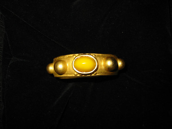 Deanna Hamro Brass Cuff Bracelet Yellow Glass Cabochon Signed - Designer Unique Finds   - 4
