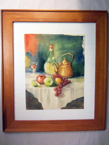 Walker Still Life Watercolor Fruits Chianti Signed Impressionist Art - Designer Unique Finds