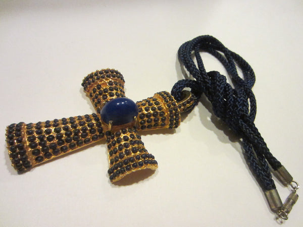 Vogue JLRY Gold Plated Cross Pendant Blue Cabochon Rope Chain - Designer Unique Finds