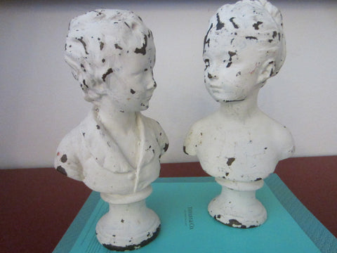 Portrait Busts Male Female Classic Metal Bookends Torsos Sculptures - Designer Unique Finds