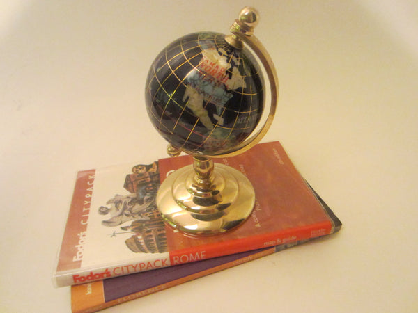 World Globe Cobalt Lapis Rainbow Mother of Pearl Brass Stand - Designer Unique Finds