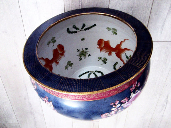 Chinese Porcelain Blue Fish Bowl Enameling Pink Flowers - Designer Unique Finds