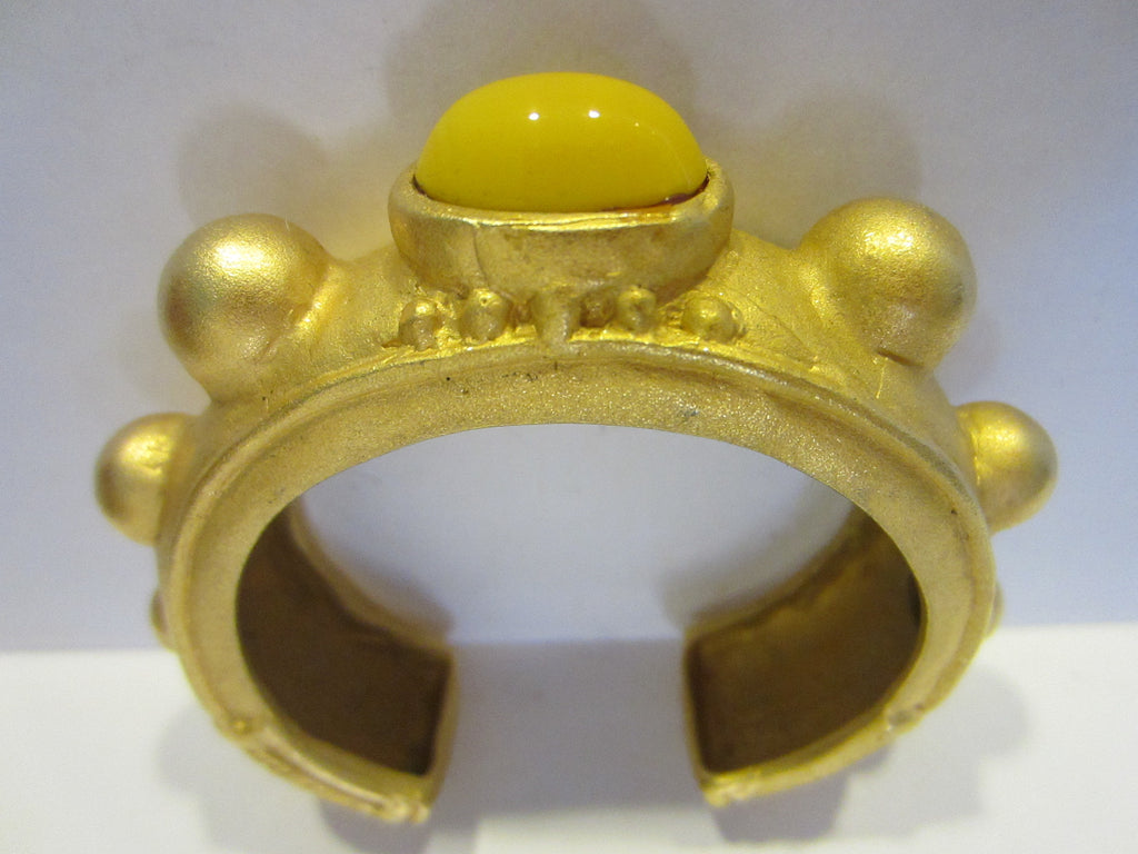 Deanna Hamro Brass Cuff Bracelet Yellow Glass Cabochon Signed - Designer Unique Finds   - 1