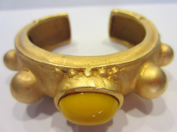 Deanna Hamro Brass Cuff Bracelet Yellow Glass Cabochon Signed - Designer Unique Finds   - 3