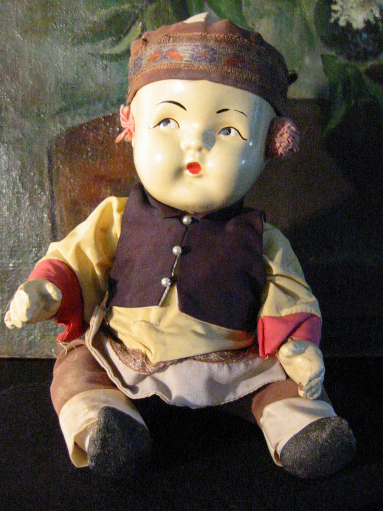 Tribal Composition Folk Art Chinese Doll Glass Shadow Case - Designer Unique Finds   - 2