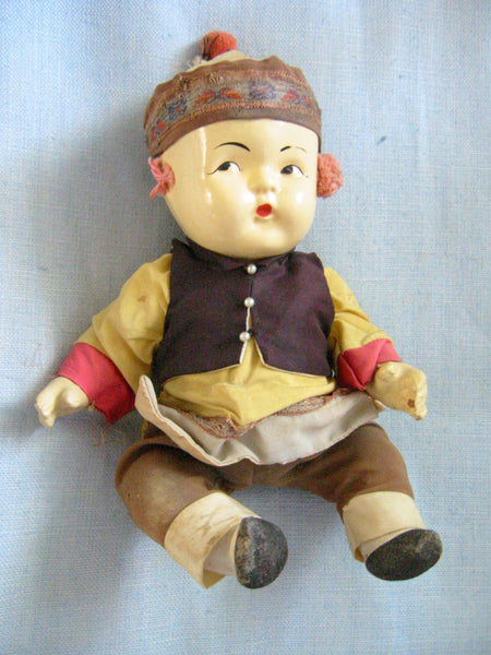 Tribal Composition Folk Art Chinese Doll Glass Shadow Case - Designer Unique Finds   - 7