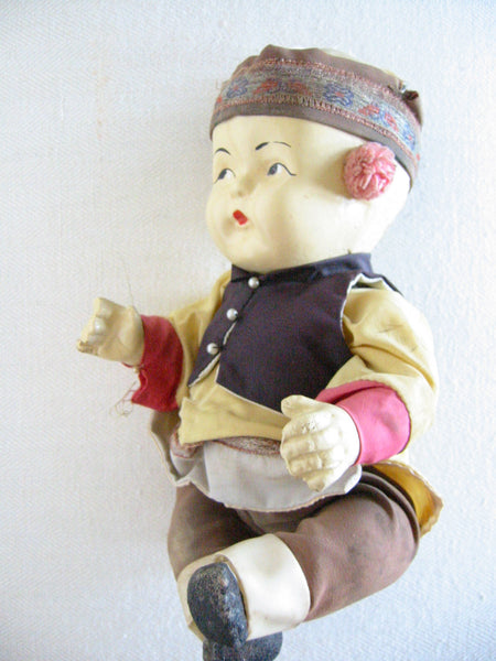 Tribal Composition Folk Art Chinese Doll Glass Shadow Case - Designer Unique Finds   - 5