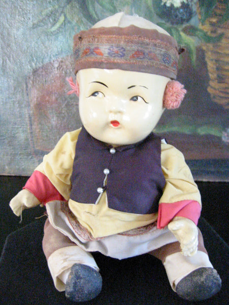 Tribal Composition Folk Art Chinese Doll Glass Shadow Case - Designer Unique Finds   - 1