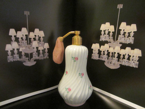 Limoges France Porcelain Roses Atomizer Perfume Bottle - Designer Unique Finds