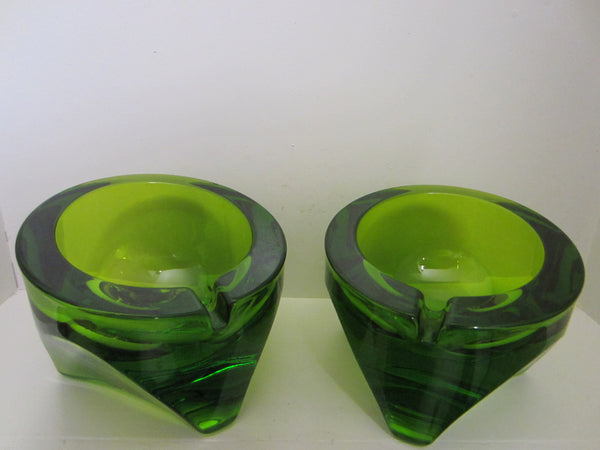 Emerald Green Geometric Crystal Ashtrays - Designer Unique Finds