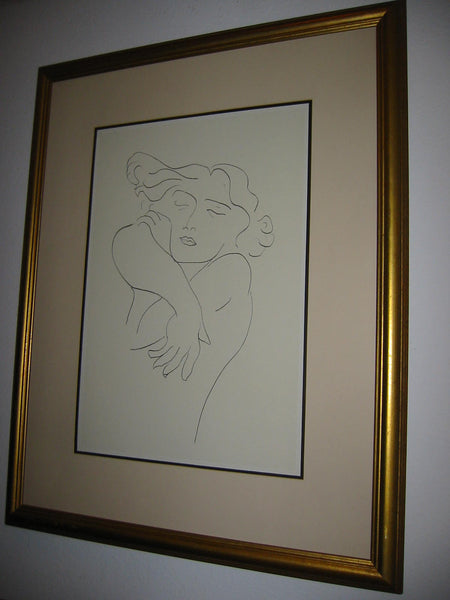 Attributed Matisse Abstract Portrait Print Line Drawing - Designer Unique Finds   - 7