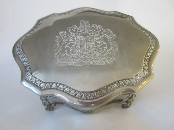 English Style Silver Plated Jewelry Box Lion Medallion Coat of Arm - Designer Unique Finds   - 1