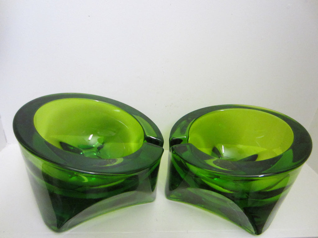 Emerald Green Geometric Crystal Ashtrays - Designer Unique Finds   - 1