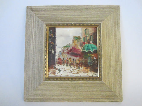 De Vity Paris De Street View Signed Painting On Framed Porcelain Tile - Designer Unique Finds