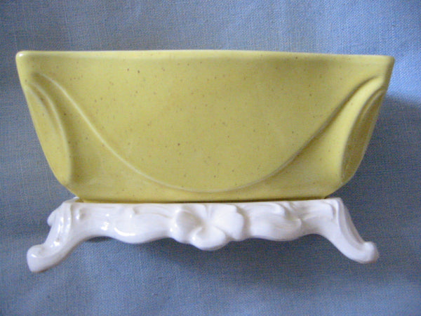 Lane  Co California Dove Pottery Mid Century Yellow White Ceramic Planter - Designer Unique Finds