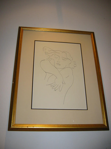 Attributed Matisse Abstract Portrait Print Line Drawing - Designer Unique Finds   - 6