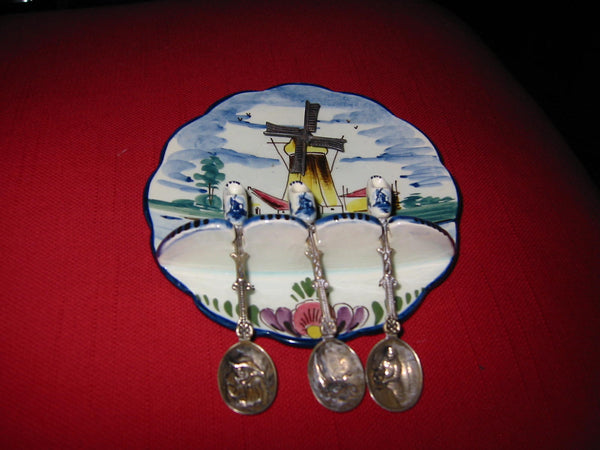Elesva Delfts Polychrome Suite Hand Painted Holland Dutch Windmill Ashtray Spoons - Designer Unique Finds   - 4