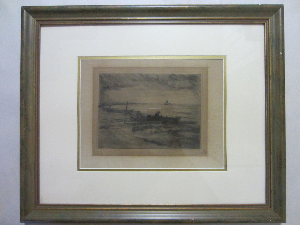 Harbor View Black Drawing Signed Marine Art - Designer Unique Finds   - 1