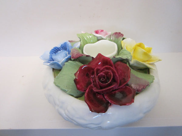 Aynsley England Fine Bone China Candle Holder With Roses - Designer Unique Finds   - 3