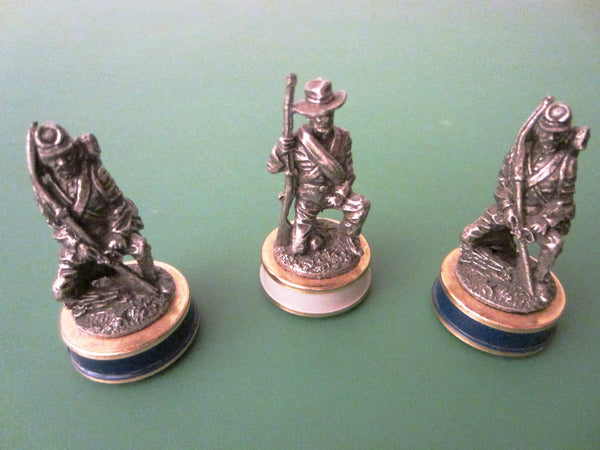 Miniature Pewter Figures Enameled Stands With Symbol Marks - Designer Unique Finds