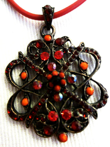 Coppertone Red Necklace Openwork Coral Filigree Flower - Designer Unique Finds