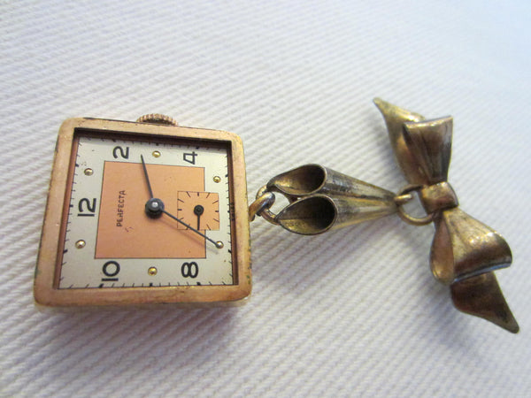 Perfecta Swiss Lapel Watch Brooch Bow Bar Pink Dial Rose Gold - Designer Unique Finds   - 1