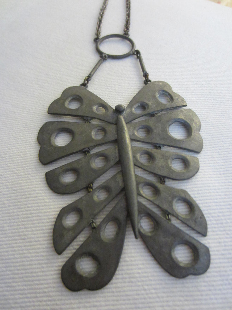 Necklace Pewter Butterfly Signed Art Primitive Geometric Design - Designer Unique Finds
