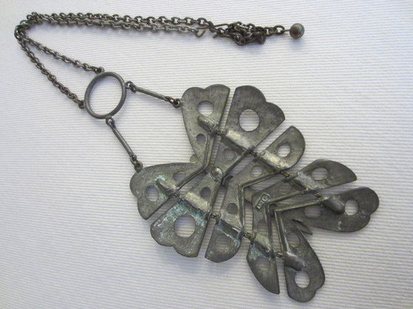 Butterfly Pewter Necklace Pewter Marked Art Primitive Geometric Design - Designer Unique Finds