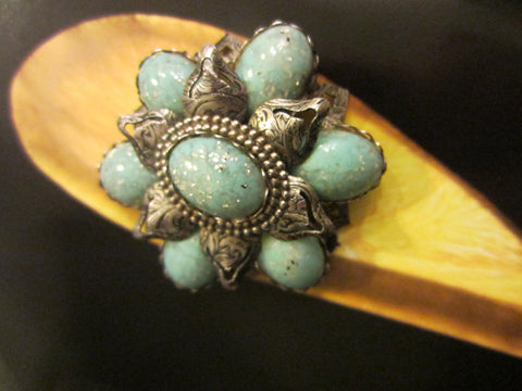 Turquoise Statement Brooch Blue Jelly Silver Flake Cabochons - Designer Unique Finds   - 1