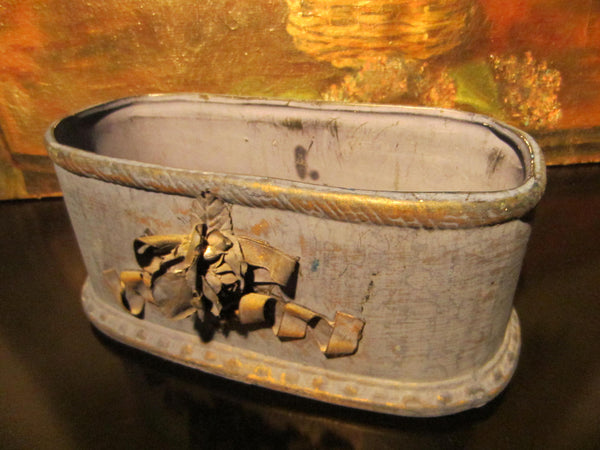 Folk Art Blue Chalk Ware Jardiniere Decorated Gold Ribbon - Designer Unique Finds   - 3