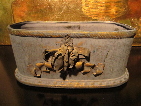 Folk Art Blue Chalk Ware Jardiniere Decorated Gold Ribbon - Designer Unique Finds   - 1